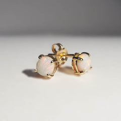 A6875 Solid Opal 9K Gold Earrings