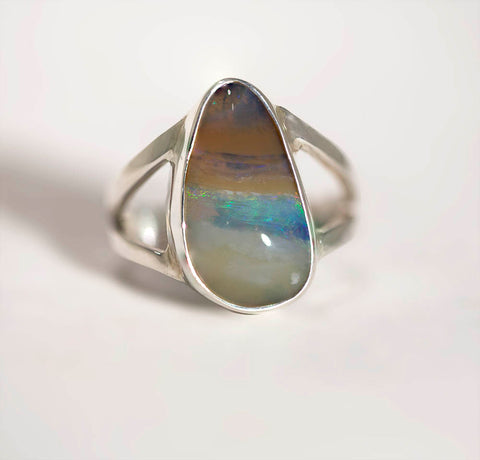 A6878 Solid Opal Sterling Silver Ring