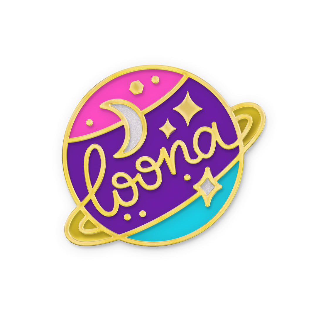 Planet enamel pin