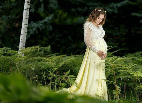 Maternity long lace dress photoshoot Maternity gown Pregnancy yellow dress Maternity pictures Photo session - Matchinglook