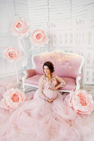 e7ce1085240 Maternity long lace dress photoshoot Maternity gown Pregnancy blush pink dress  Maternity pictures Photo session ...