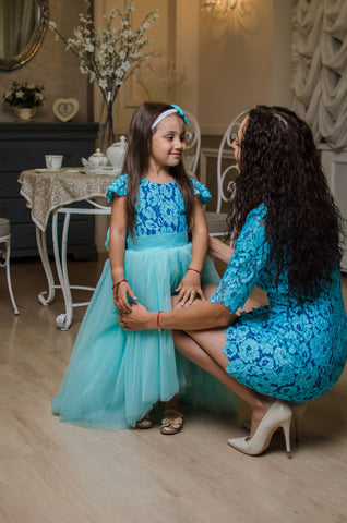 5043e8f0f1 Teal Mother daughter matching lace dress, Mini dress Sexy tight dress for  Mom,Mommy ...