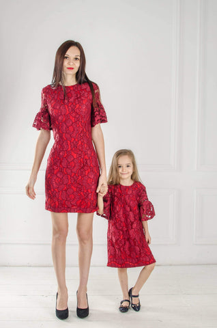 Mommy and Me lace dresses, Burgundy Mother daughter matching Dresses Outfits, birthday dresses Wedding dress Matching Valentines day dress - Matchinglook