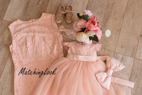 Mother daughter matching dress dresses outfits, Peach Knee length Mommy and Me lace dresses, girls party dress, Mother and Me Valentines day - Matchinglook
