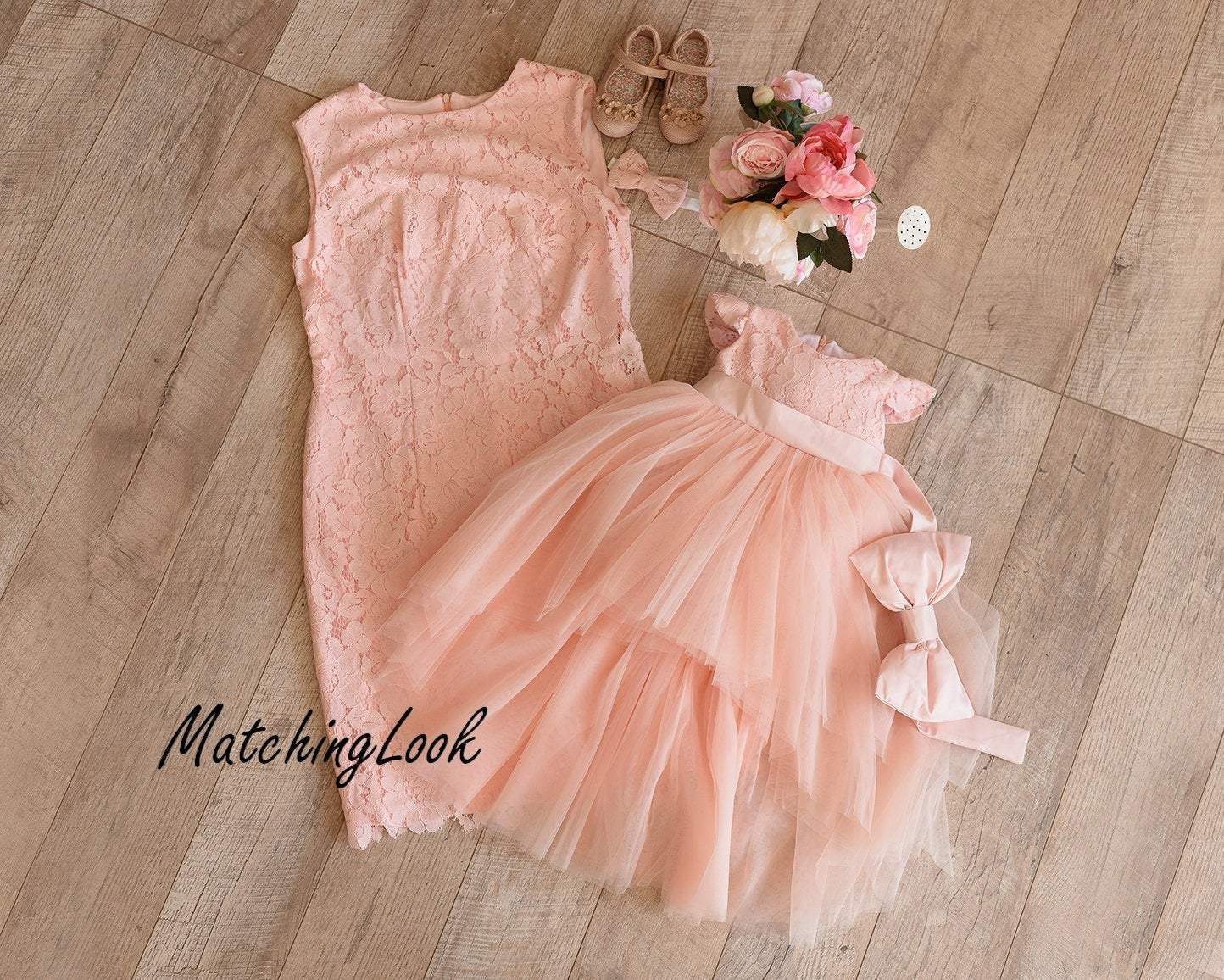 Peach Mother Daughter Matching Tutu Lace Dress Summer Mini Dresses For Mom And Baby