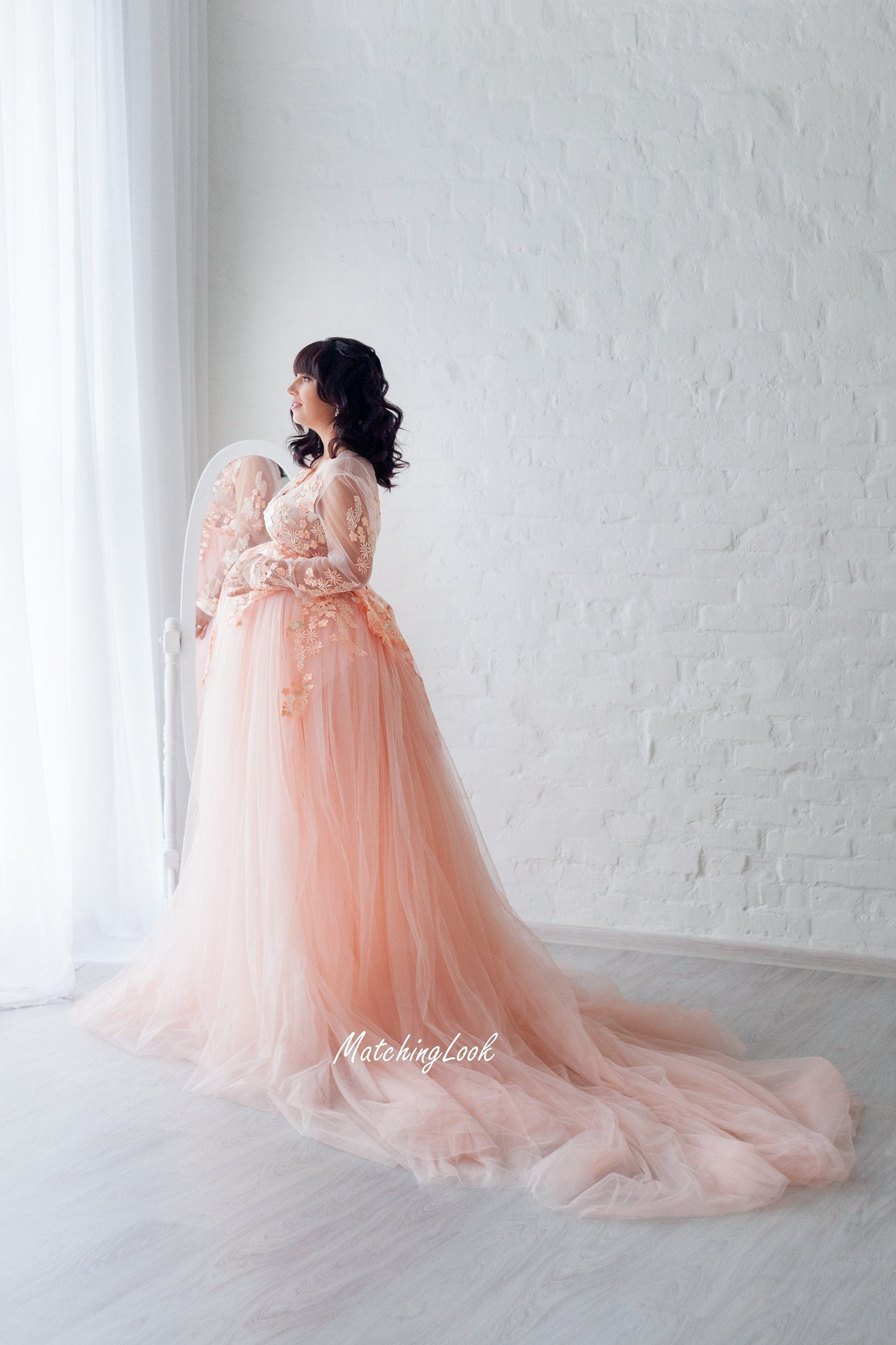 Maternity Dress For Photoshoot Peach Lace Maternity Gown