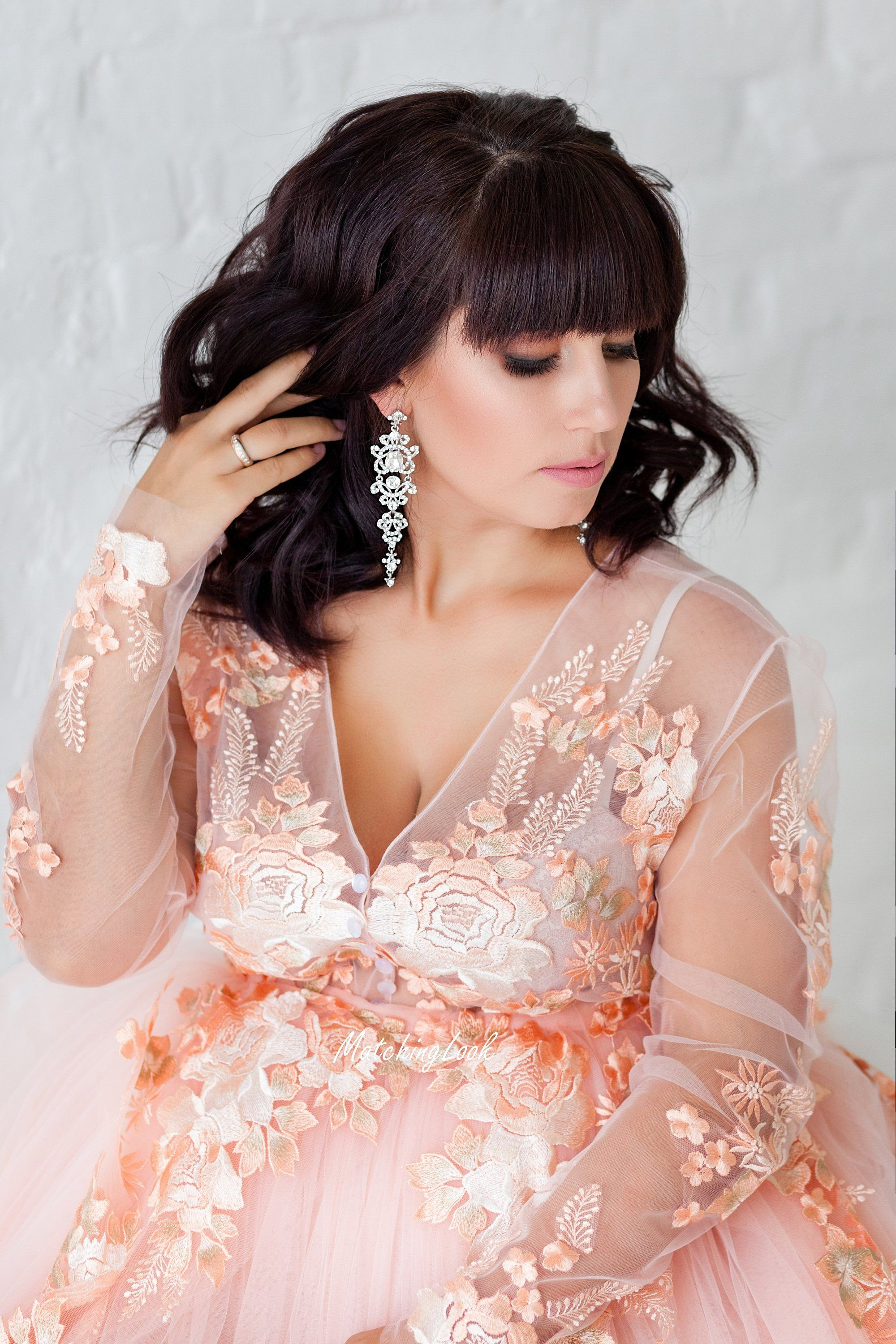 Maternity Dress For Photoshoot Peach Lace Maternity Gown,Resale Wedding Dress Shops Near Me