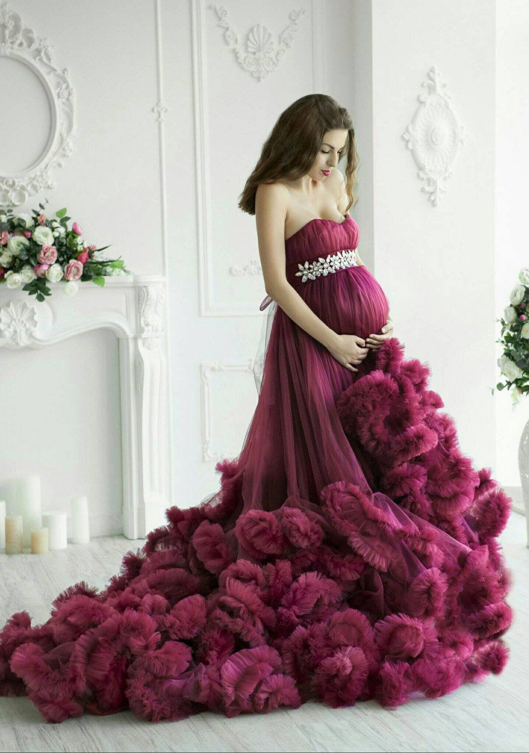 Maternity Ruffled Tulle Dress Photoshoot Pregnancy Purple Cloud Dress