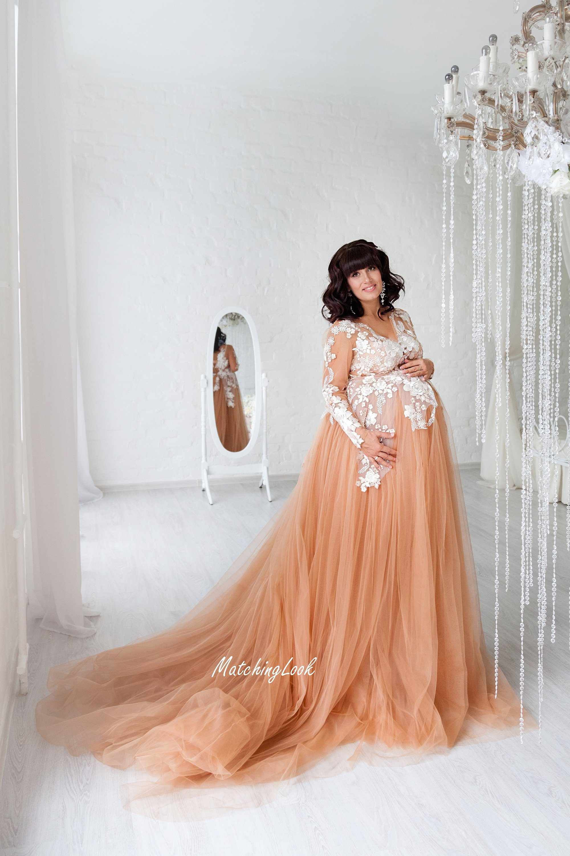 Nude Lace Maternity Dress with train for photoshoot