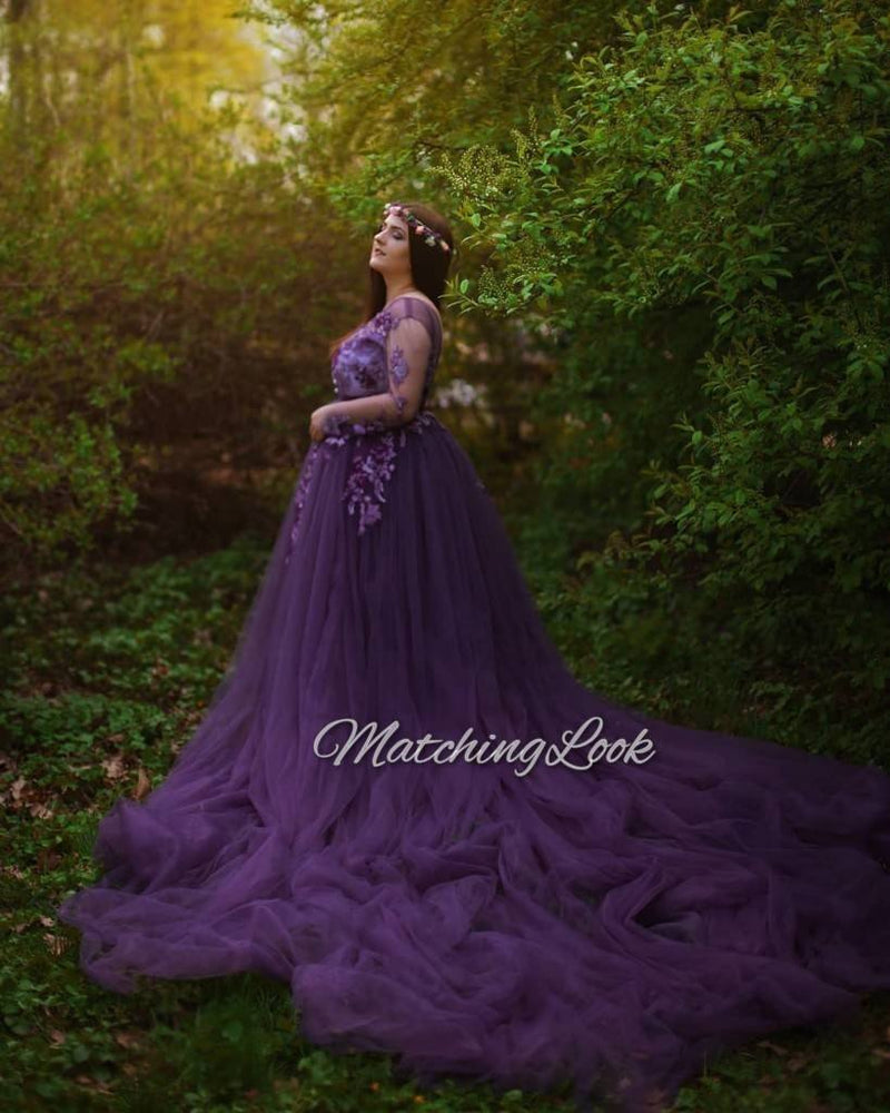 Purple Maternity Lace Gown For Photoshoot With Train