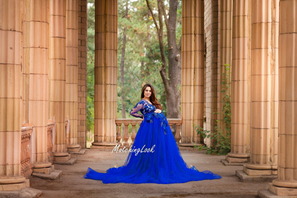 Royal Blue Maternity Dress Photo Prop Dress Maternity Gown For Photo