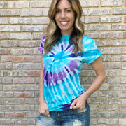 Tie Dye shirt for women - blue and purple
