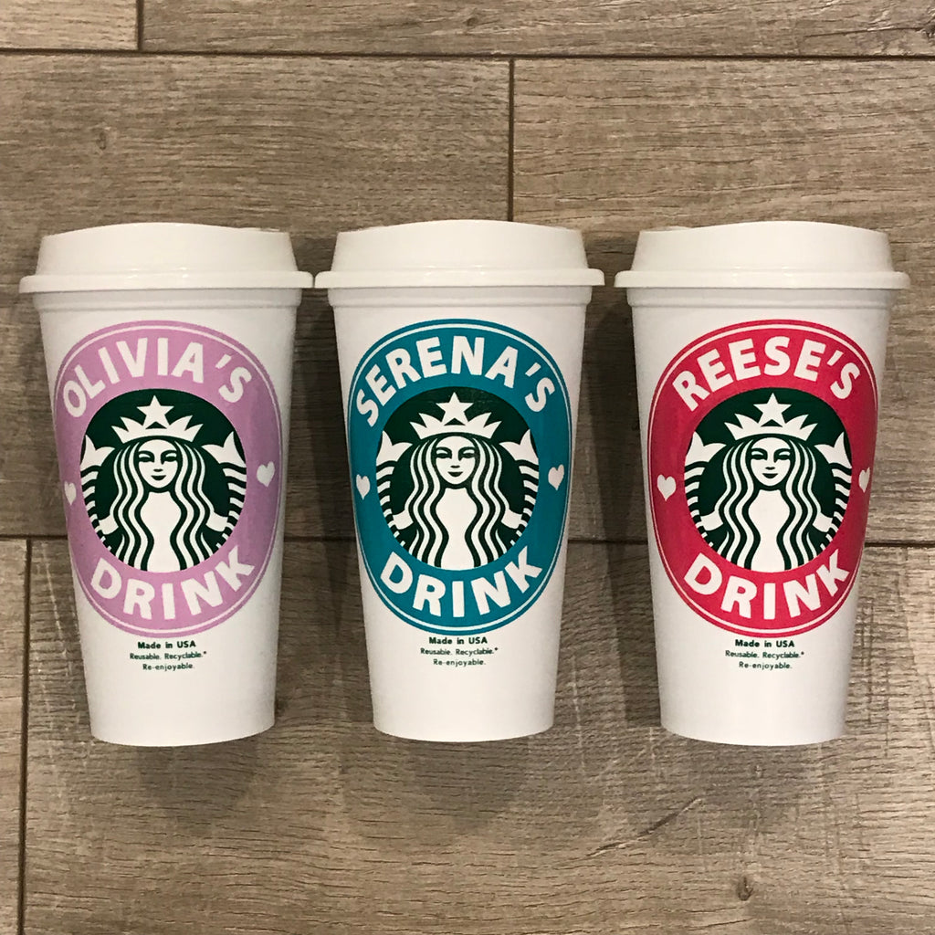 "Gifts For Young Girls - Personalized Starbucks Cups ""Drink"""