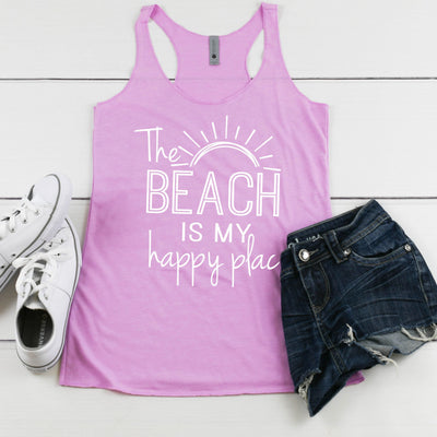 Womens Summer Tank - The Beach Is My Happy Place