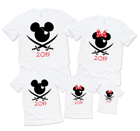 Family Pirate Shirts - Grey or White