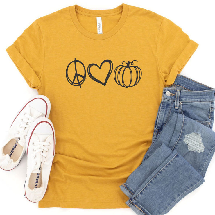 Women's Fall T Shirt - Peace Love Pumpkin