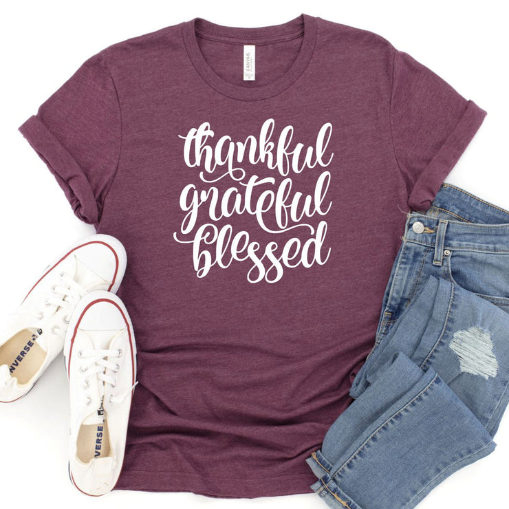 Women's Fall T Shirt - Thankful Grateful Blessed