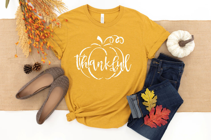 Women's Fall Thankful Shirt - Thankful Pumpkin
