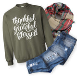 Women's Fall Sweater - Thankful Grateful Blessed