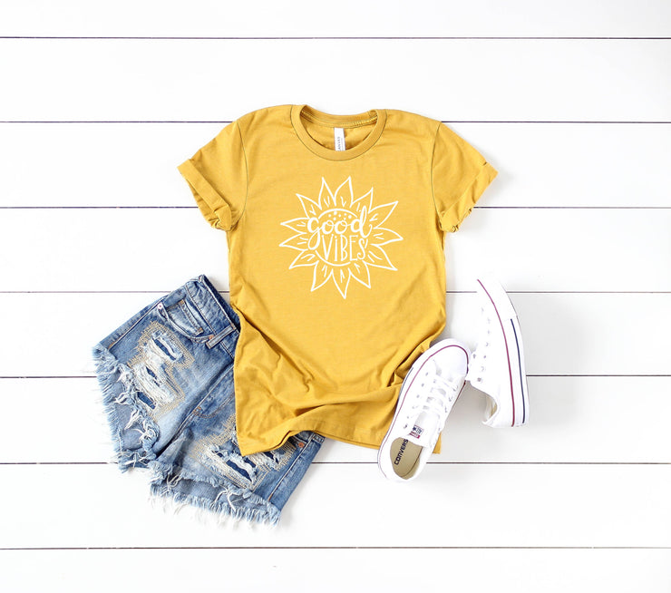 Women's Summer Shirt - Good Vibes Sunflower