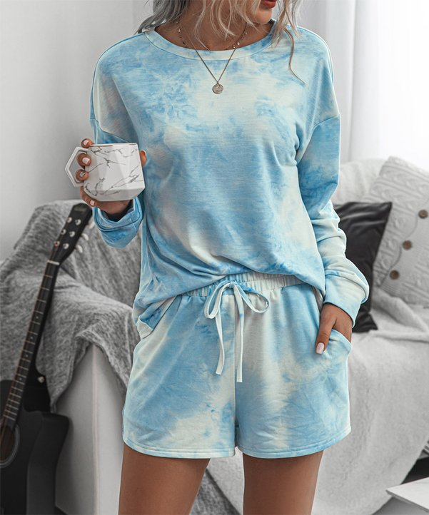 Blue Tie Dye Lounge Set