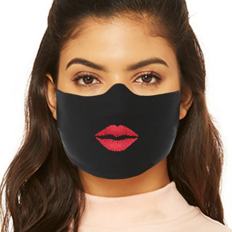 Face Mask With Lips - Red Sparkle