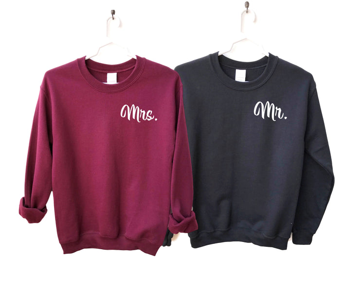 Mr and Mrs Sweatshirts, Husband and Wife Shirts