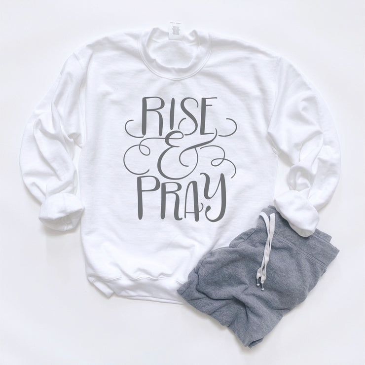 Womens Lounging Sweatshirt - Rise and Pray