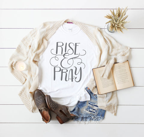 Womens Christian Tee - Rise and Pray