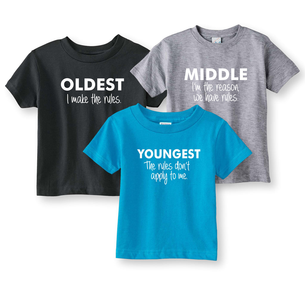Sibling Shirt Set Oldest, Middle, Youngest - Youth Sizes