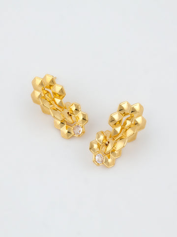 Daisy Patch Earrings Gold