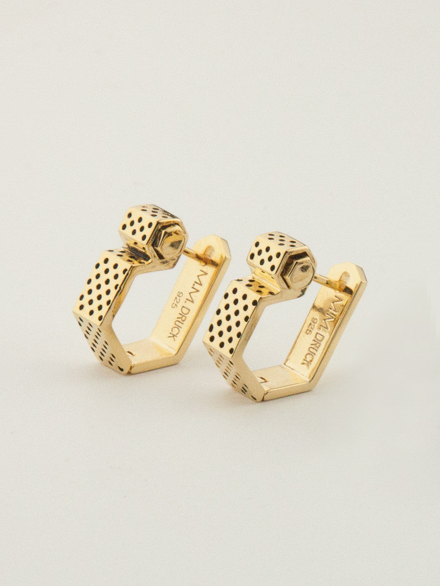 Nut & Bolt Latch Back Earrings Gold