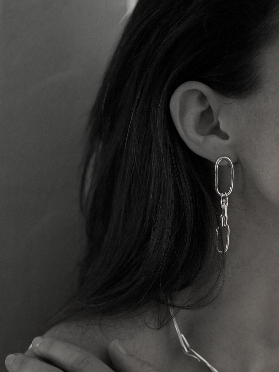 POSITION I EARRINGS LG STERLING SILVER