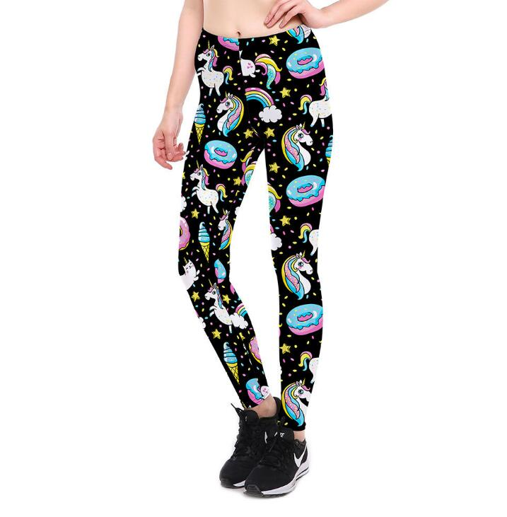 Women's & Teen's Plus Size Unicorn in the Ranbow Galaxy Leggings