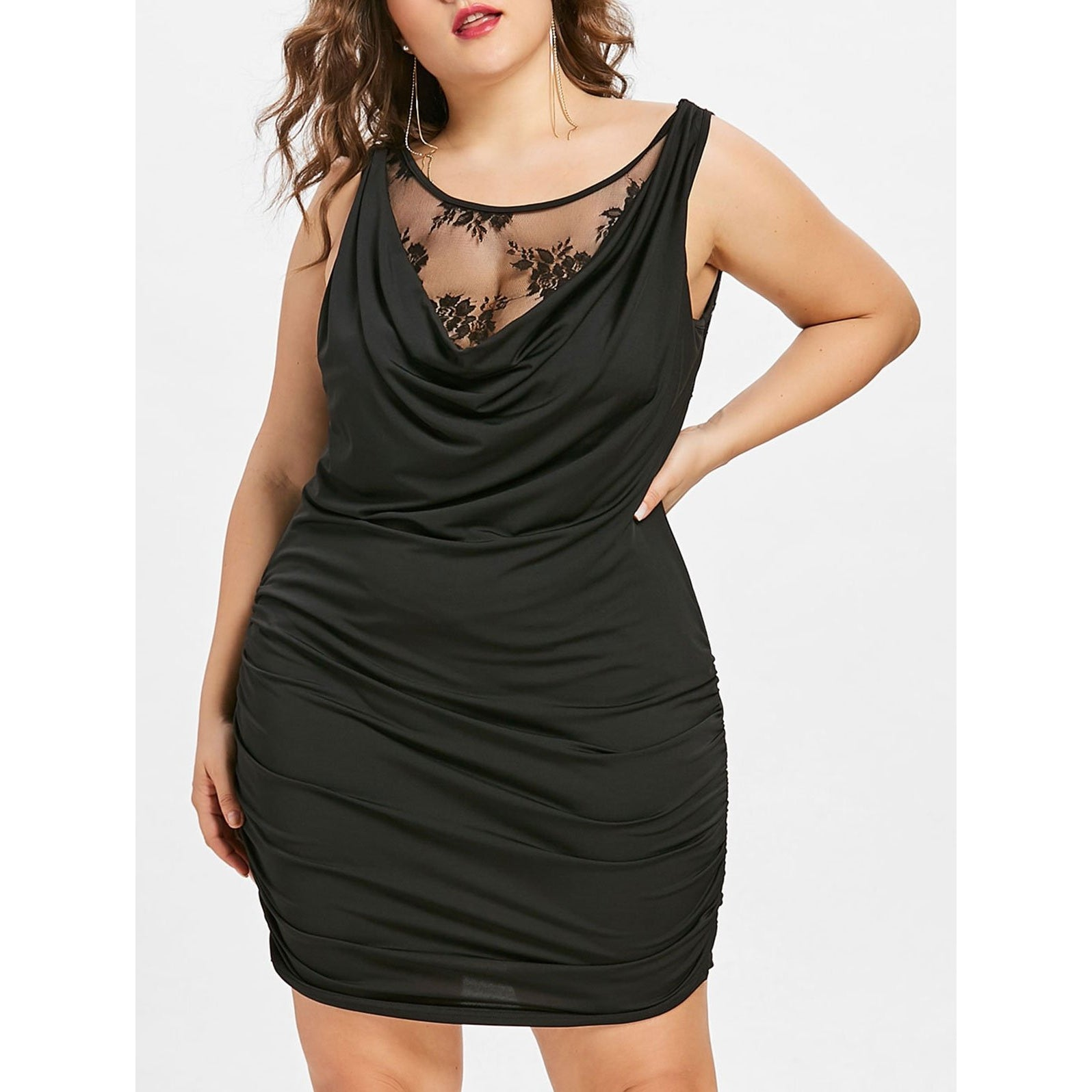 Lace Panel Plus Size Draped Club Dress, , eprolo - MAK Kouture