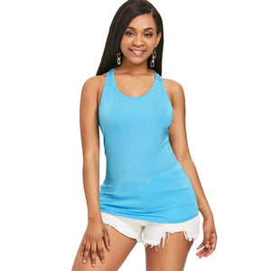 Lace Trim Racerback U Neck Tank Top, , eprolo - MAK Kouture