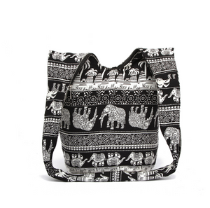 Hippie Elephant Sling Crossbody Bag Shoulder Bag Purse Thai Top Zip Handmade, , eprolo - MAK Kouture