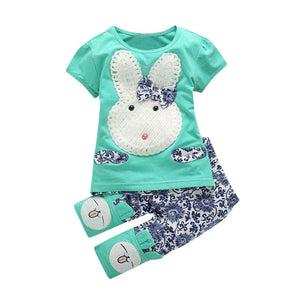 Baby Girls Bunny Embroidered Bunny Sleeve Set (12m-3t), Kids & Babies, Green Coco - MAK Kouture