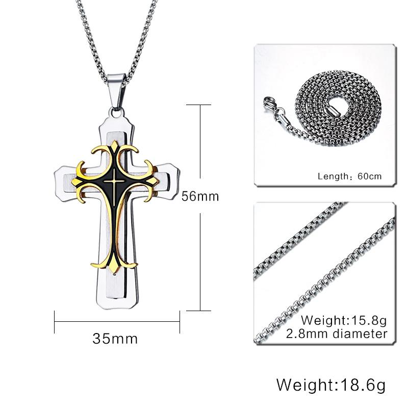 Men's Large Fleur-de-lis Cross 3-Tone Pendant Necklace, , eprolo - MAK Kouture
