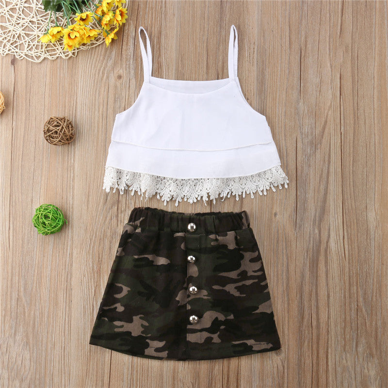 Toddler & Girls Camo & Crop Top Outfit (12m-5t), girl's outfit, MAK Kouture - MAK Kouture