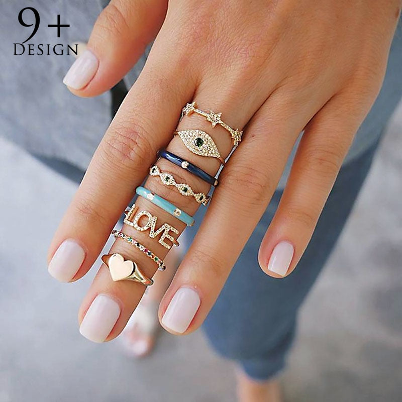 Bohemian Bell 8 Piece Ring Set, rings, MAK Kouture - MAK Kouture