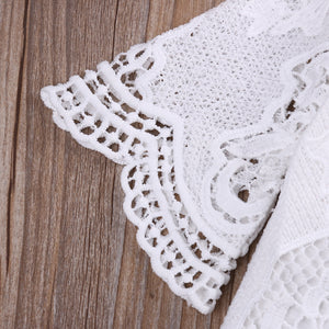 Lovely White Lace Ruffled Sleeve Romper Jumpsuit, Girls clothing, MAK Kouture - MAK Kouture