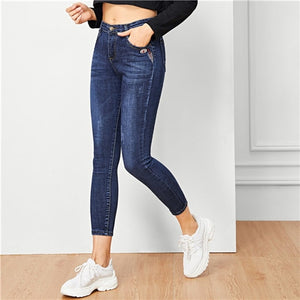 Women's & Teen's Solid Blue Casual Comfort Skinny Jeans