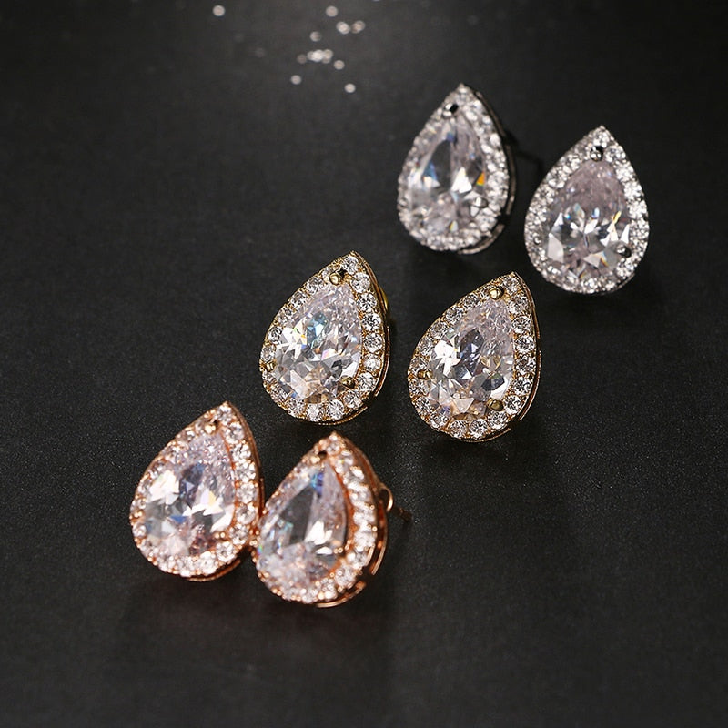 Cubic Zircon Water Drop Stud Earrings, jewelry, MAK Kouture - MAK Kouture