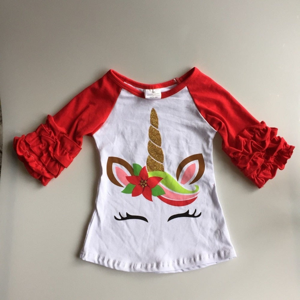 Girls Raglan Unicorn Shirt (12M-8Y), Girl's Clothing, MAK Kouture - MAK Kouture