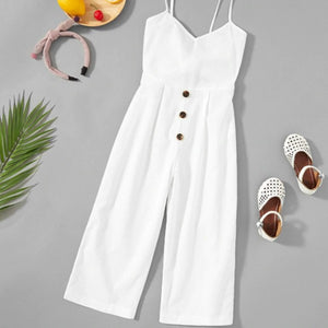Girls Mini Fashionista Solid White Button Up Cami Jumpsuit 6-12 years, Girls clothing, MAK Kouture - MAK Kouture