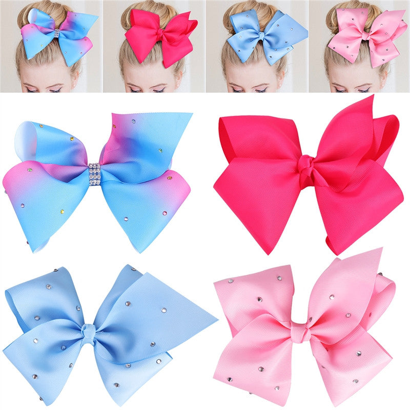 4 Piece JoJo Style Ribbon Hair Bows (Rhinestone), , MAK Kouture - MAK Kouture
