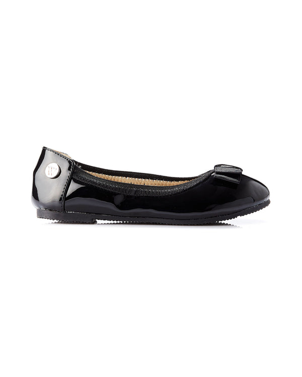 WALNUT CATIE BOW BALLET - BLACK