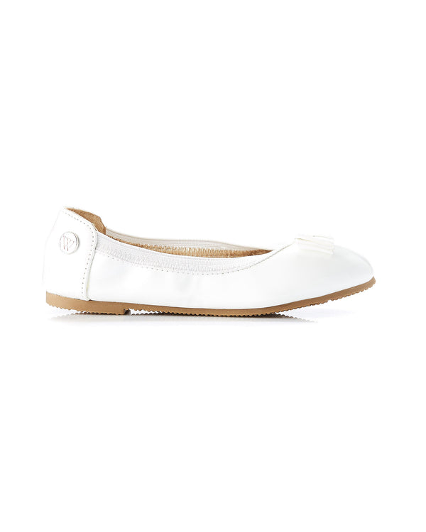 WALNUT CATIE BOW BALLET - WHITE