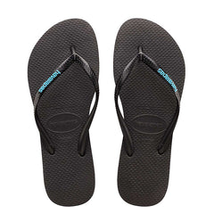 HAVAIANAS SLIM RUBBER LOGO KIDS - BLACK BLUE